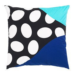 MOSAIKBLAD cushion cover, blue, black