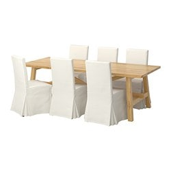 MÖCKELBY /  HENRIKSDAL table and 6 chairs, oak dark brown, Blekinge white