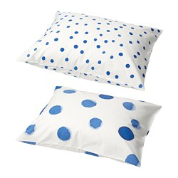 TÄNKVÄRD pillowcase, dotted white/blue