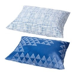 TÄNKVÄRD pillowcase, triangle pattern dark blue, line white/blue