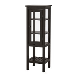 HEMNES High Cabinet With Glass Door, Black Brown