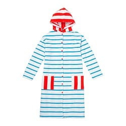 SJÖLEJON bath robe, striped blue, red