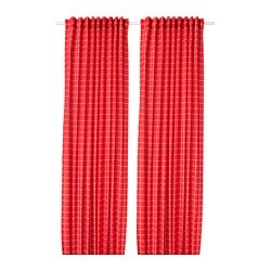 ROSALILL room darkening curtains, 1 pair, red/white