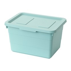 SOCKERBIT Storage Box With Lid, Light Blue