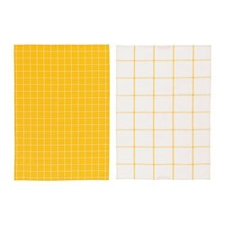 SOMMAR 2019 dish towel, patterned yellow/white