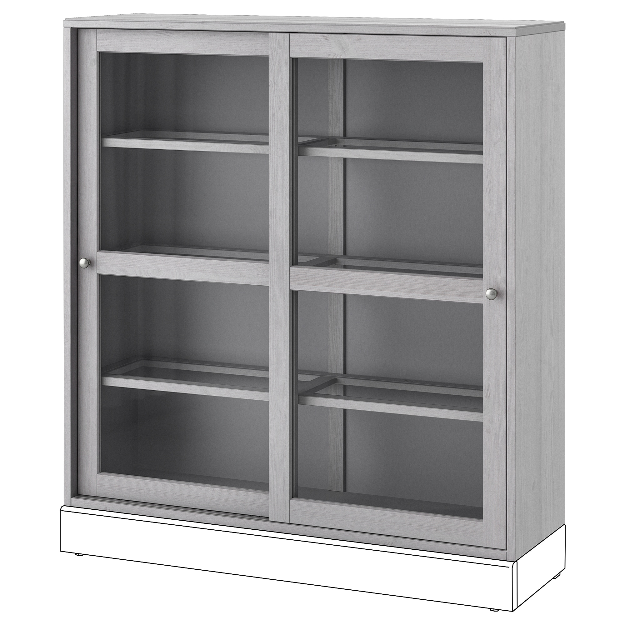 Havsta Glass Door Cabinet Grey Ikea