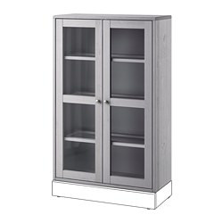 HAVSTA glass-door cabinet, gray