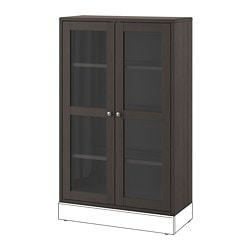 HAVSTA glass-door cabinet, dark brown