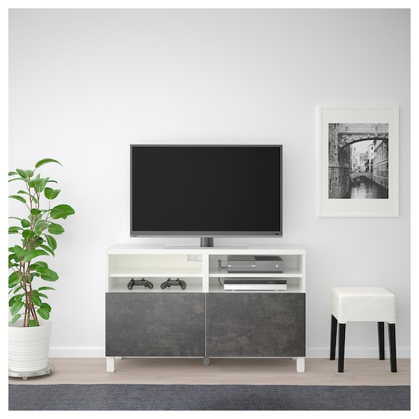 Mobile Porta Tv Ikea.Tv Bench With Doors Besta White Kallviken Stubbarp Dark Grey Concrete Effect