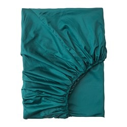 NATTJASMIN fitted sheet, dark green