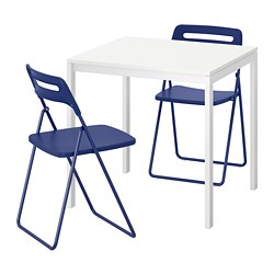 MELLTORP /  NISSE table and 2 folding chairs, white, dark blue-lilac