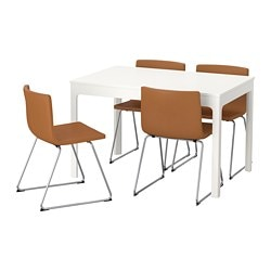 EKEDALEN /  BERNHARD table and 4 chairs, white, Mjuk golden-brown