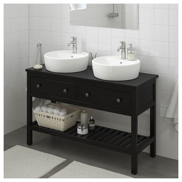 new style 5a105 b8f5c HEMNES Bathroom vanity 2 drawers, black-brown stain
