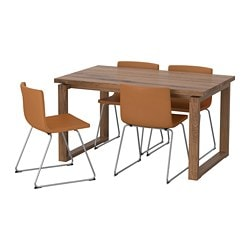 MÖRBYLÅNGA /  BERNHARD table and 4 chairs, oak veneer, Mjuk golden-brown