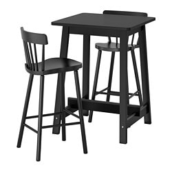 NORRÅKER /  NORRARYD bar table and 2 bar stools, black, black