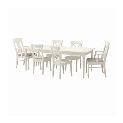 INGATORP /  INGOLF table and 6 chairs, white, Nordvalla beige