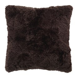 EVALINN cushion cover, sheepskin dark brown