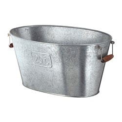 GRÄSLÖK plant pot, oval in/outdoor, galvanised oval galvanised