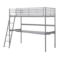 SVÄRTA loft bed frame with desk top, silver color