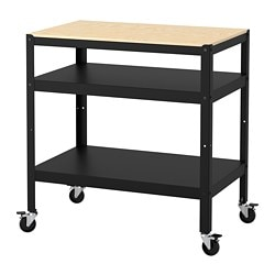 BROR Utility Cart, Black, Pine Plywood