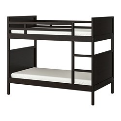 NORDDAL bunk bed frame, black-brown