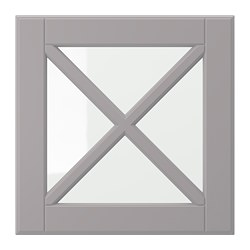 BODBYN glass door with crossbar, gray