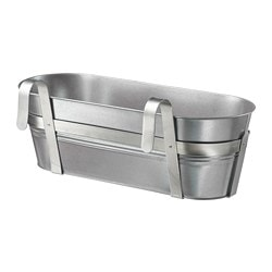 SOCKER flower box with holder, indoor/outdoor, galvanized