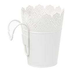 SKURAR plant pot with holder, in/outdoor, white