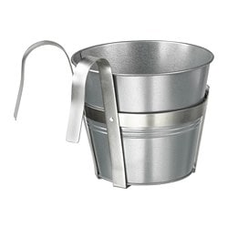 SOCKER plant pot with holder, indoor/outdoor, galvanized