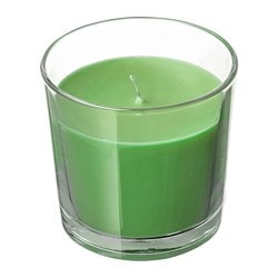 SINNLIG scented candle in glass, Apple and pear, green