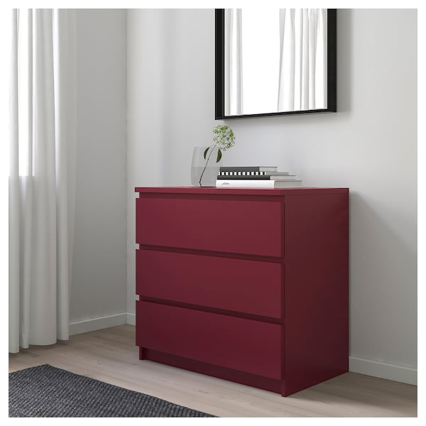 Malm Chest Of 3 Drawers Dark Red Ikea