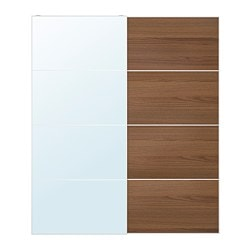 AULI / ILSENG pair of sliding doors, mirror glass, brown stained ash veneer