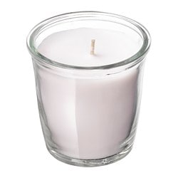 SMÅTREVLIG scented candle in glass, Vanilla and sea salt, natural