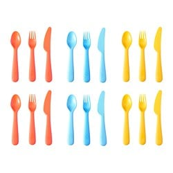 SOMMAR 2019 18-piece cutlery set, mixed colours