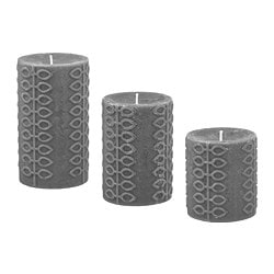 NJUTNING scented block candle, set of 3, Blossoming bergamot gray, gray