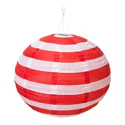 SOLVINDEN LED solar-powered pendant lamp, outdoor globe, stripe red