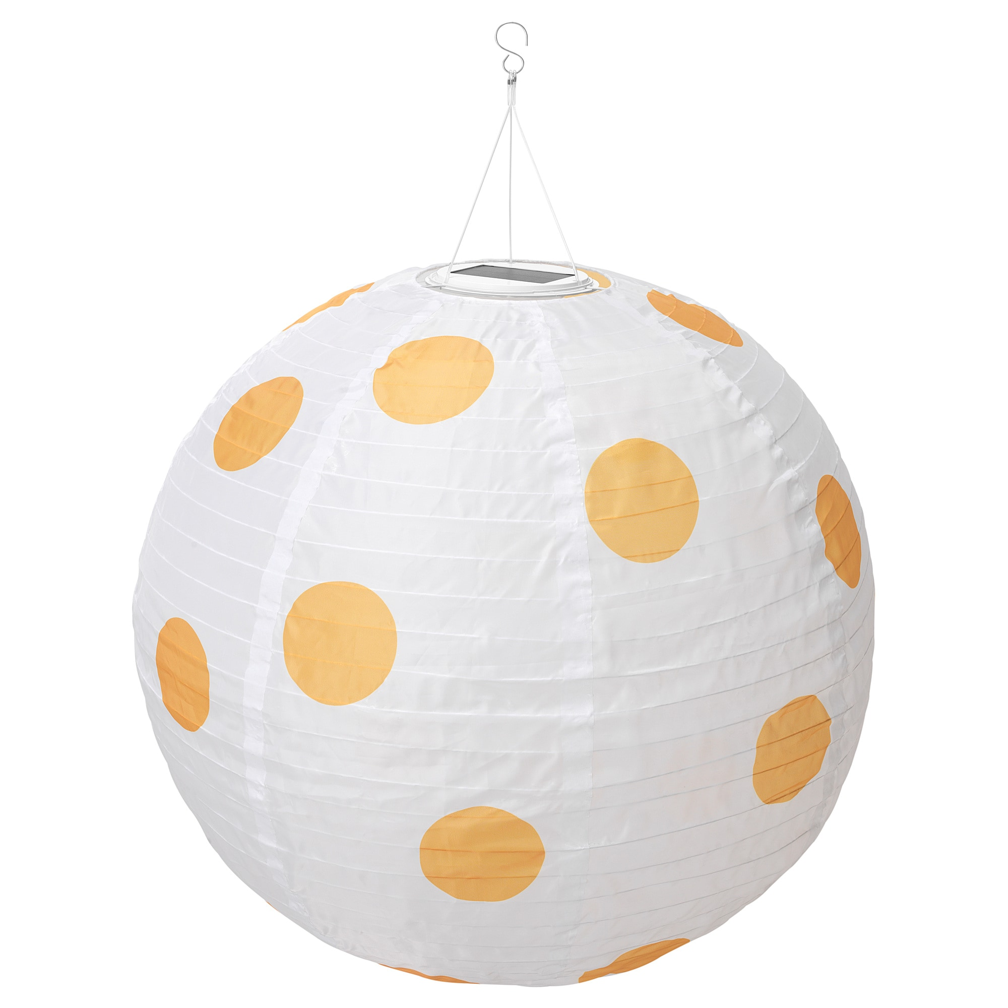 LED solar-powered pendant lamp SOLVINDEN outdoor globe, spotted yellow