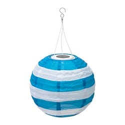 SOLVINDEN LED solar-powered pendant lamp, outdoor globe, striped blue