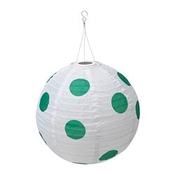 SOLVINDEN LED solar-powered pendant lamp, outdoor globe, spotted green