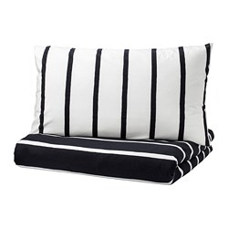 TUVBRÄCKA quilt cover and pillowcase, black, white