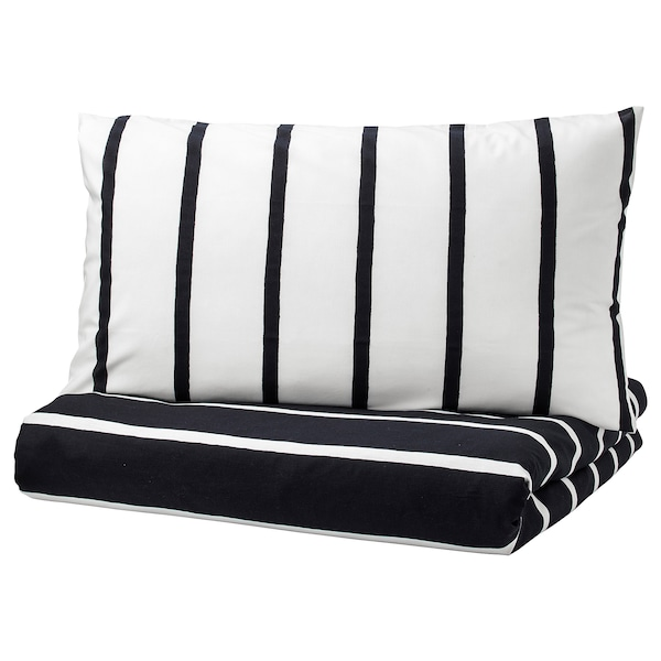 3adc0df16d TUVBRÄCKA Quilt cover and 4 pillowcases - black, white - IKEA