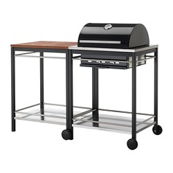 KLASEN charcoal grill with cart, brown