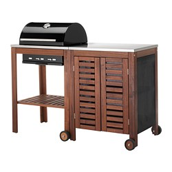 ÄPPLARÖ /  KLASEN charcoal grill with cabinet, brown stained, stainless steel color