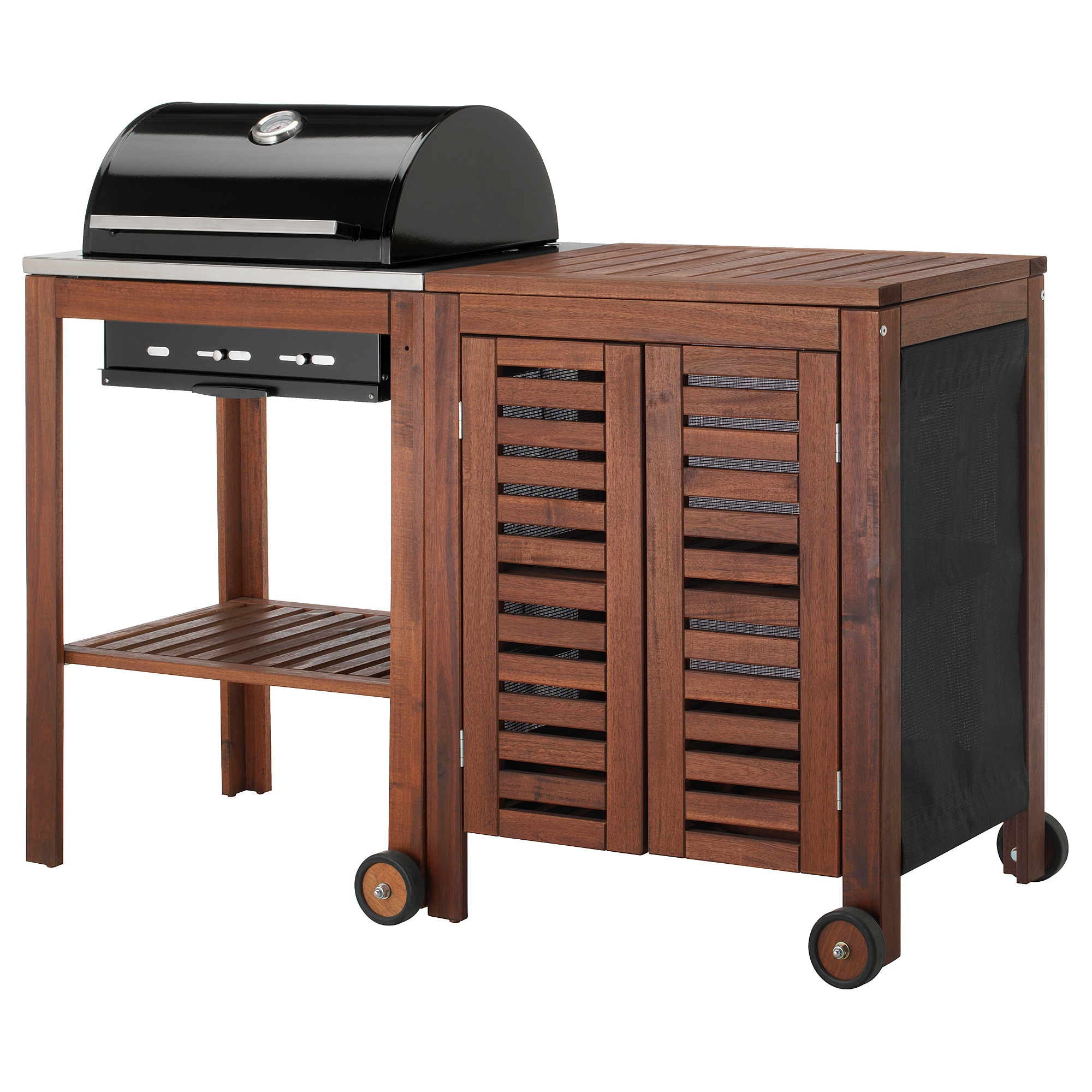 Bon ÄPPLARÖ / KLASEN Charcoal Grill With Cabinet   Brown Stained/stainless Steel  Color   IKEA
