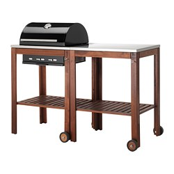 ÄPPLARÖ /  KLASEN charcoal grill with cart, brown stained, stainless steel