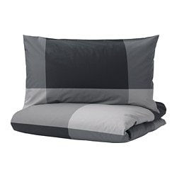 BRUNKRISSLA quilt cover and pillowcase, black