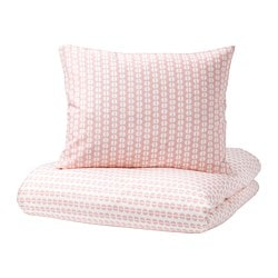 FJÄLLVEDEL quilt cover and pillowcase, pink