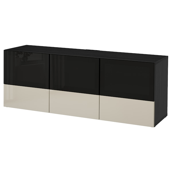 Tv Bench With Doors And Drawers Bestå Black Brown Selsviken High Gloss Beige Smoked Glass