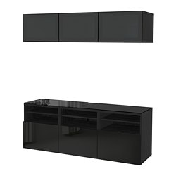 BESTÅ TV storage combination/glass doors, black-brown, Selsviken high-gloss/black smoked glass