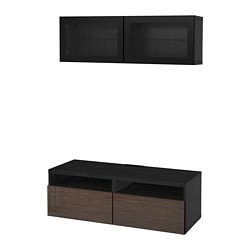 BESTÅ TV storage combination/glass doors, black-brown, Selsviken high gloss/brown clear glass
